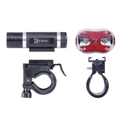 Svítilna na kolo Emos P3920 SET 1+3x LED, na 3+2x AAA, přední+zadní