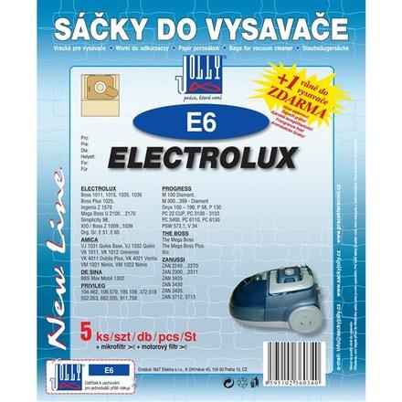 Sáčky do vysavače Jolly E 6 (5+1+1ks) do vysav. ELECTROLUX