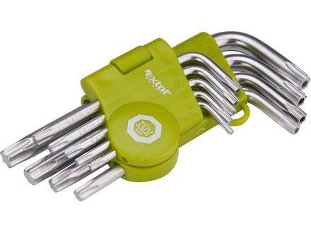 L-klíče TORX Extol Craft (66010) L-klíče TORX krátké, sada 9ks, T 10-15-20-25-27-30-40-45-50