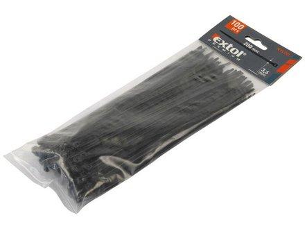 Pásky na vodiče Extol Premium (8856158) pásky na vodiče černé, 280x3,6mm, 100ks, NYLON