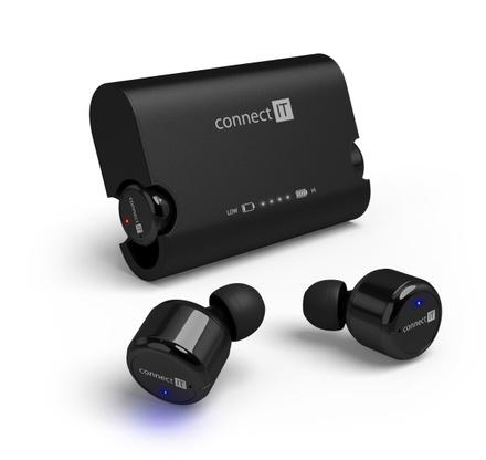 Sluchátka do uší Connect IT True Wireless HYPER-BASS Bluetooth - černé