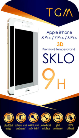Ochranné sklo TGM Ochranné sklo 3D pro Apple iPhone 6+/ 7+/ 8+ - bílé