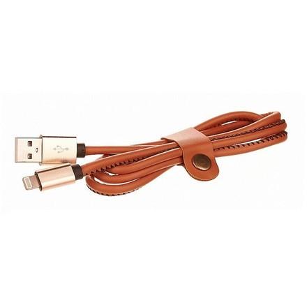 USB kabel CellFish kožený, USB/ Lightning, 1m - hnědý (435528)