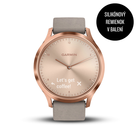 Chytré hodinky Garmin vívomove Optic Premium Rose Gold, Gray band