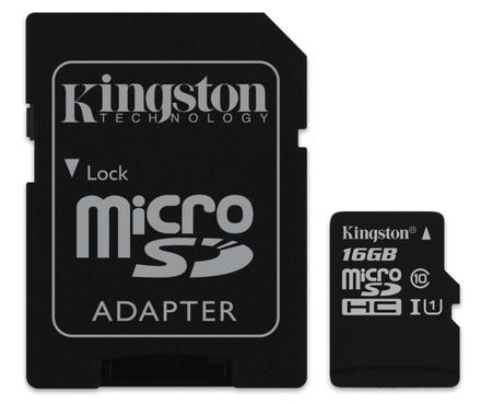 Paměťová karta Kingston microSDHC 16GB UHS-I U1 CL10 + adapt. (SDC10G2/16GB)