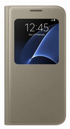 Pouzdro na mobil Samsung EF CG930PF Flip S-View Galaxy S7, Gold