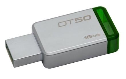 USB Flash disk Kingston DataTraveler 50 16GB USB 3.0 - zelený/kovový